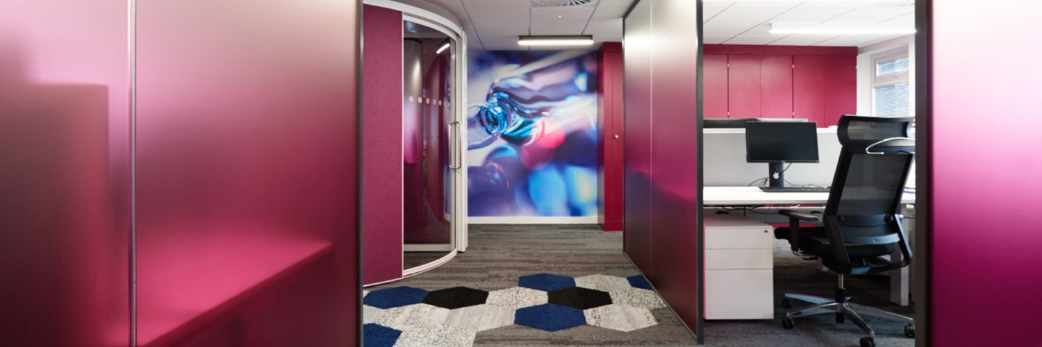 office design using pink screens in open plan office